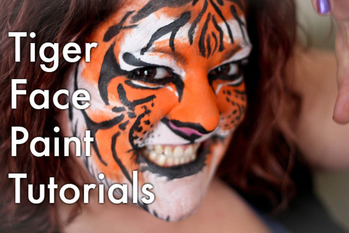 Tiger face paint and makeup tutorials.