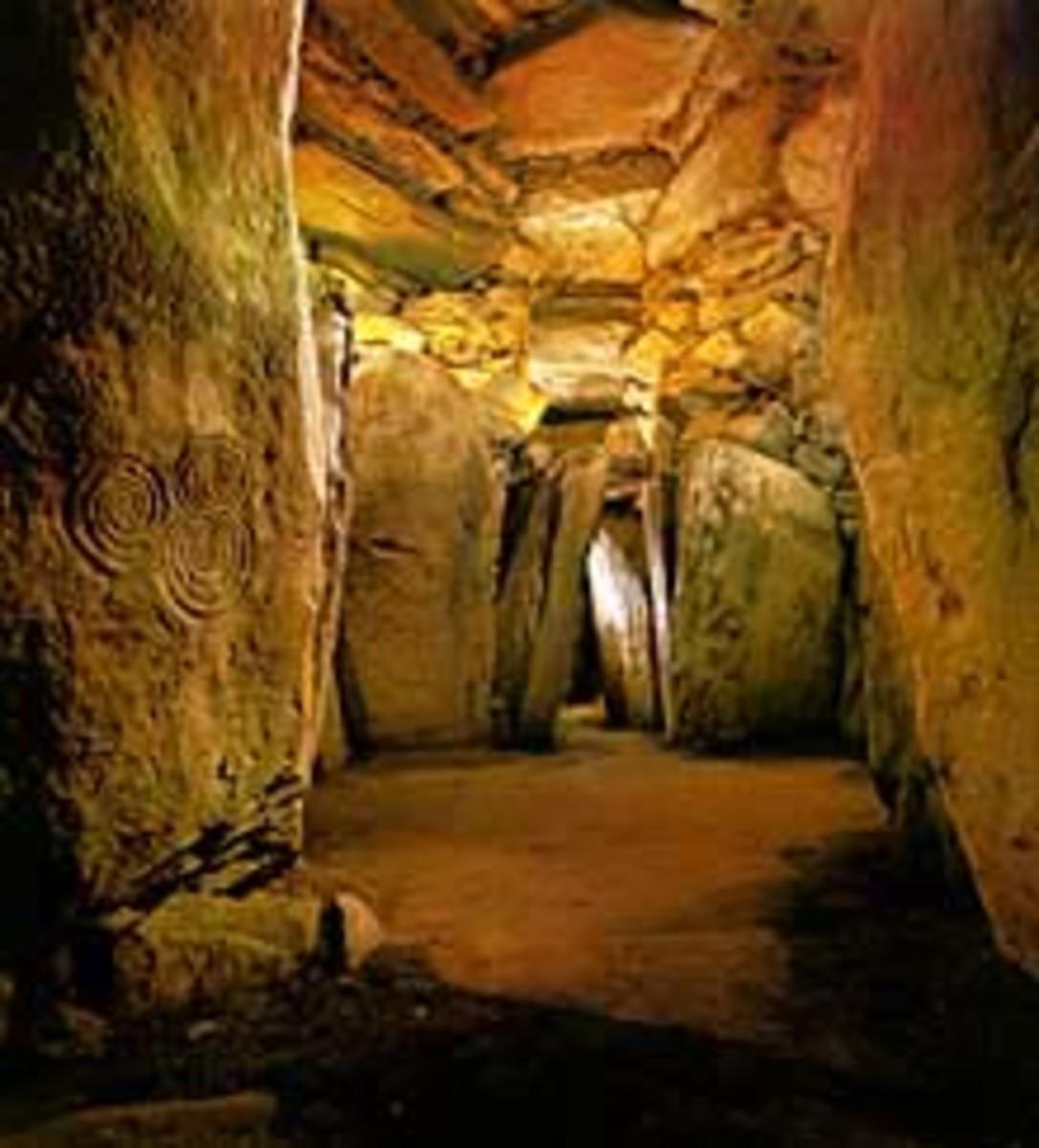 Inside the chamber at Newgrange.