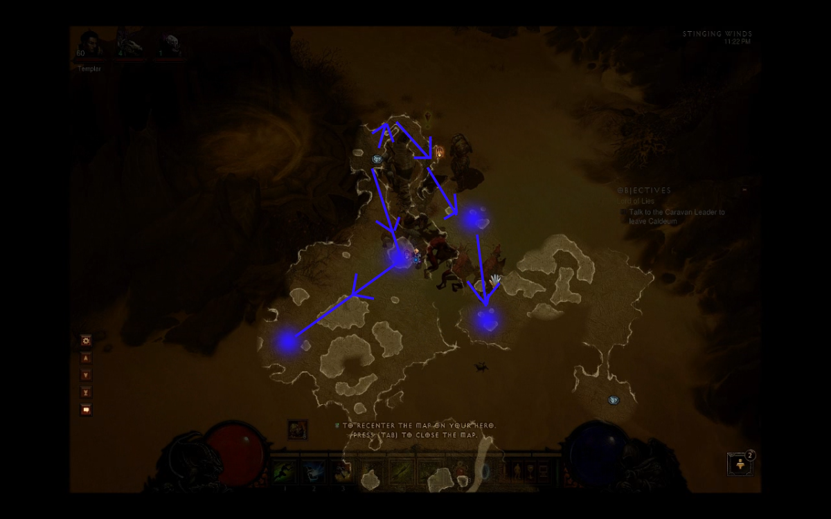 map showing the possible spawn locations and the general path to take.