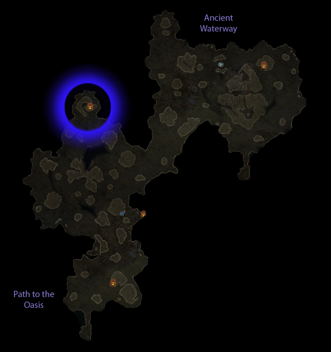 Possible spawn locations of the Tomb of Sadar in the Dahlgur Oasis.