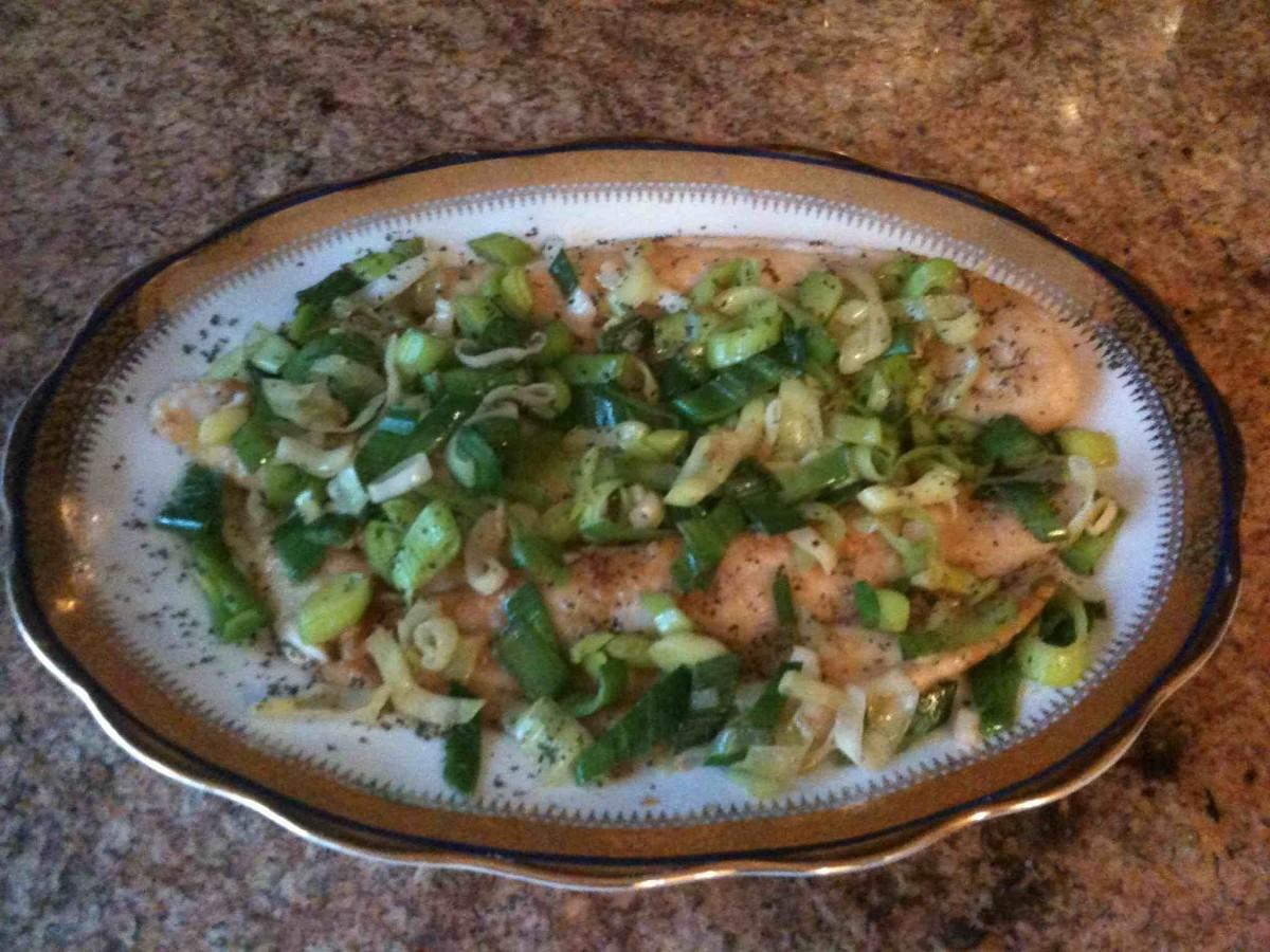 flounder in teriyaki sauce