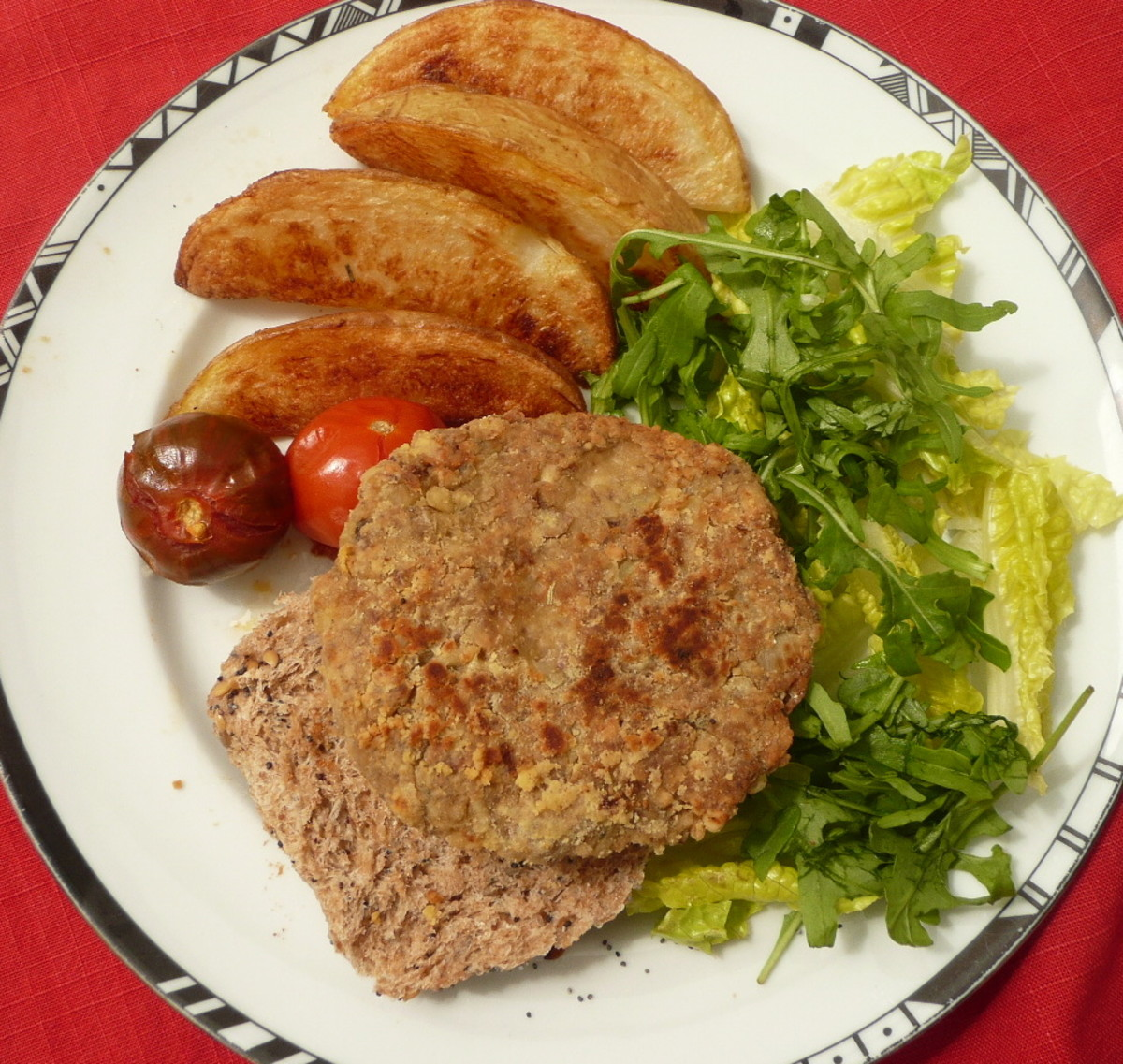 A gluten-free nut and shiitake mushroom burger, which can also be made vegan.