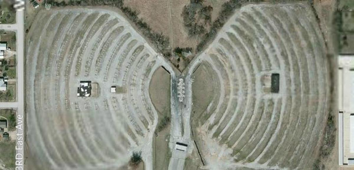 Aerial view of the Admiral Twin Drive-in Theater in Tulsa, Oklahoma.