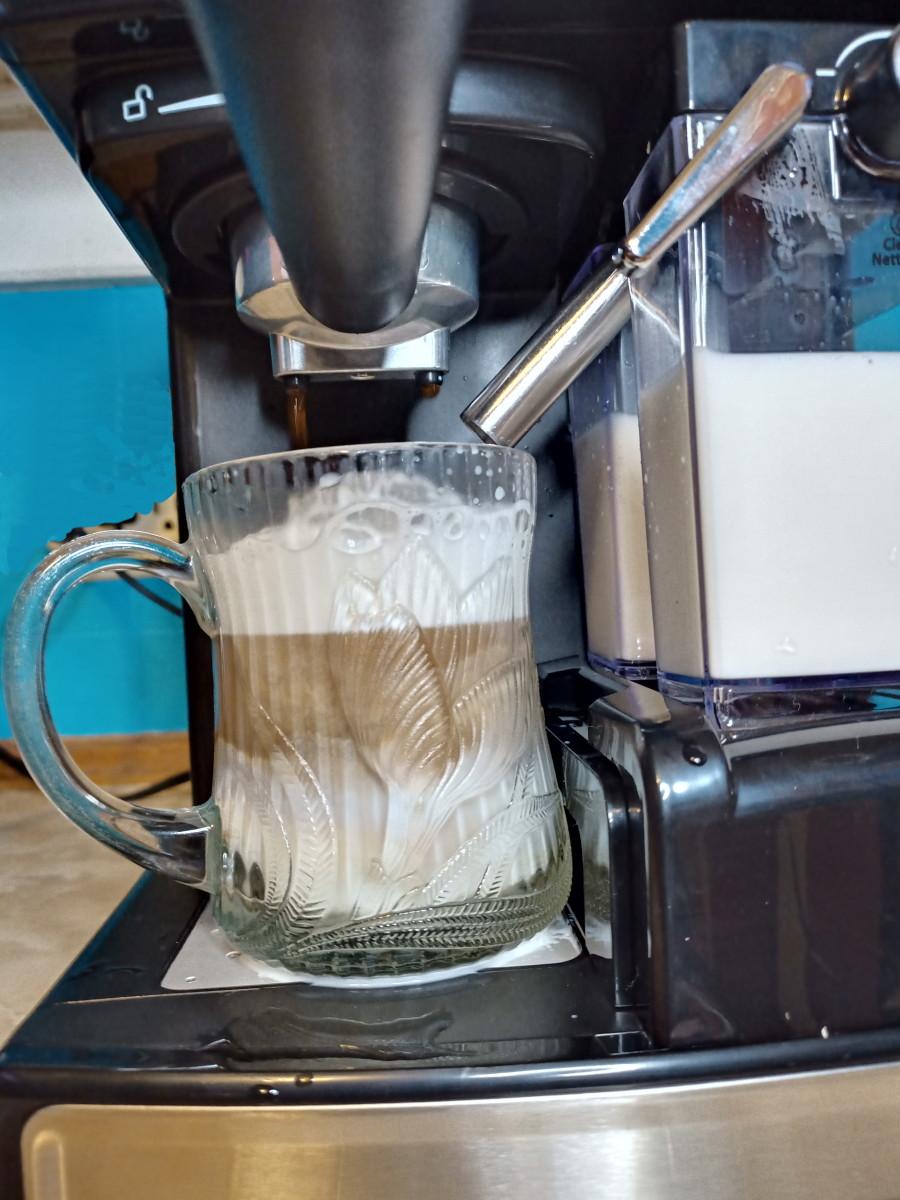 Oster's espresso maker  in operation