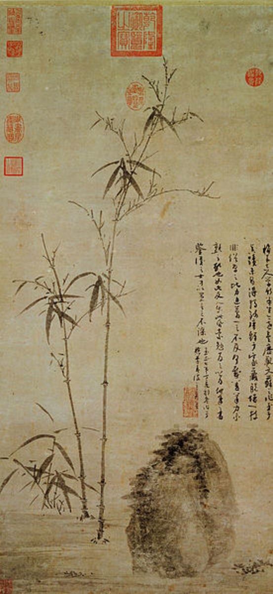 """Stalks of Bamboo by a Rock"" (1347) by Wu Zhen (1280-1354)."