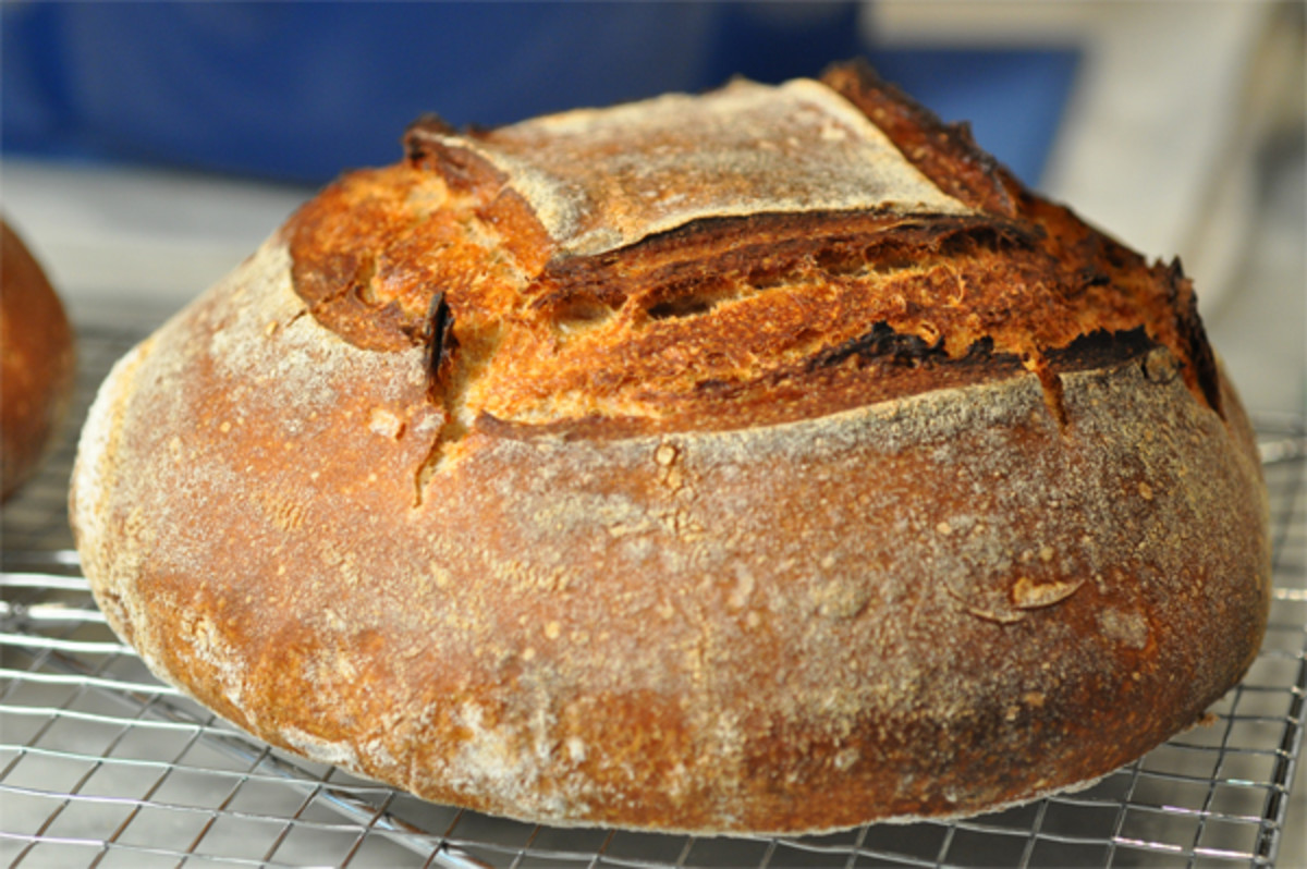 One of the first of my home-baked sourdough loaf done around Aug 2012. Not perfect but delicious.