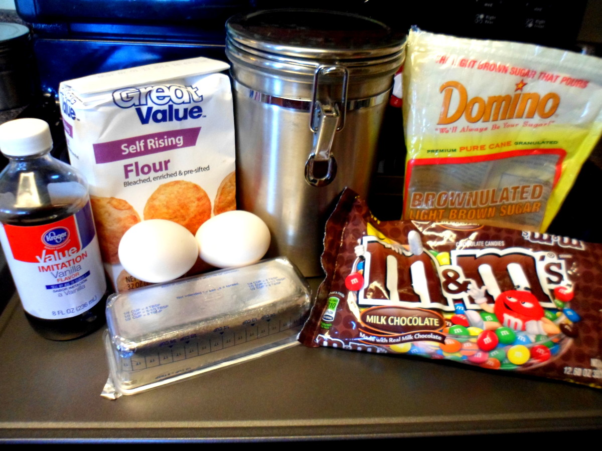The ingredients to make M&M cookies.