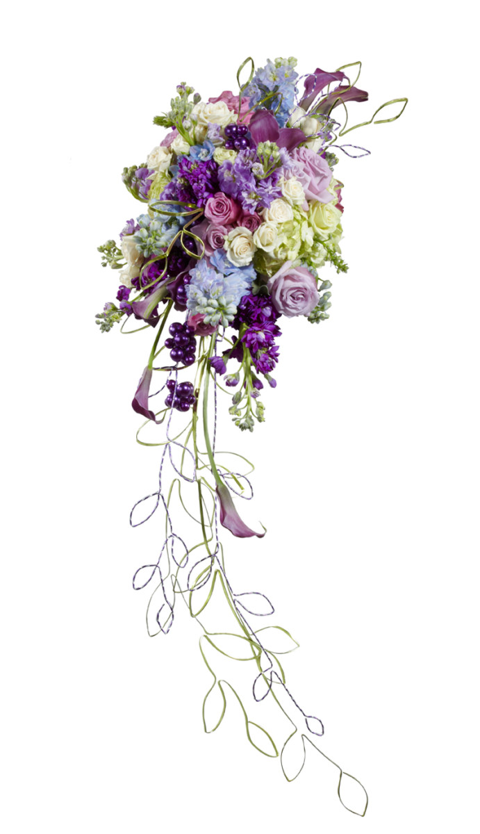 Stunning cascade bouquet in shades of lilac and white, The long trails are made from wire.