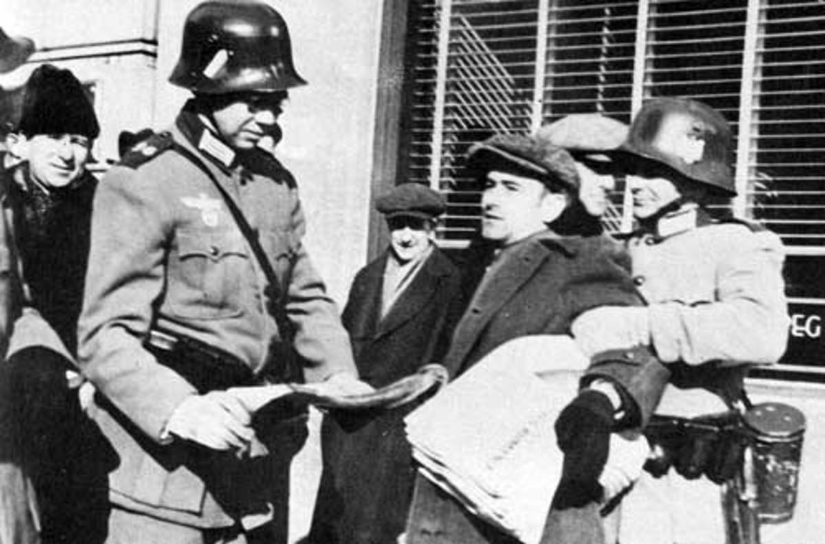 "World War Two: Fake Nazi soldiers assaulting a Winnipeg Free Press newsie during ""If Day""."