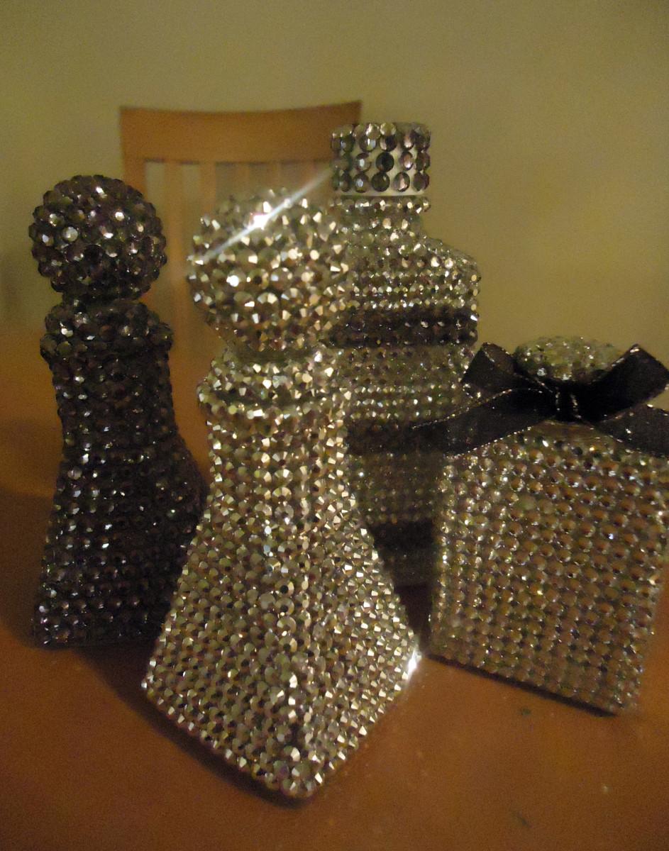 Rhinestone-covered bottles