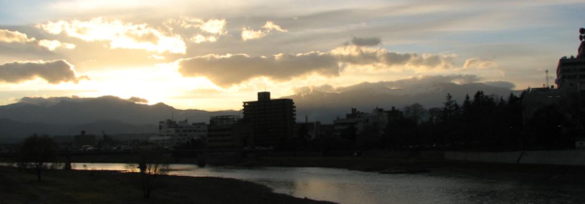 The sunset while taking an evening walk in Fukushima city, Japan, 2011.