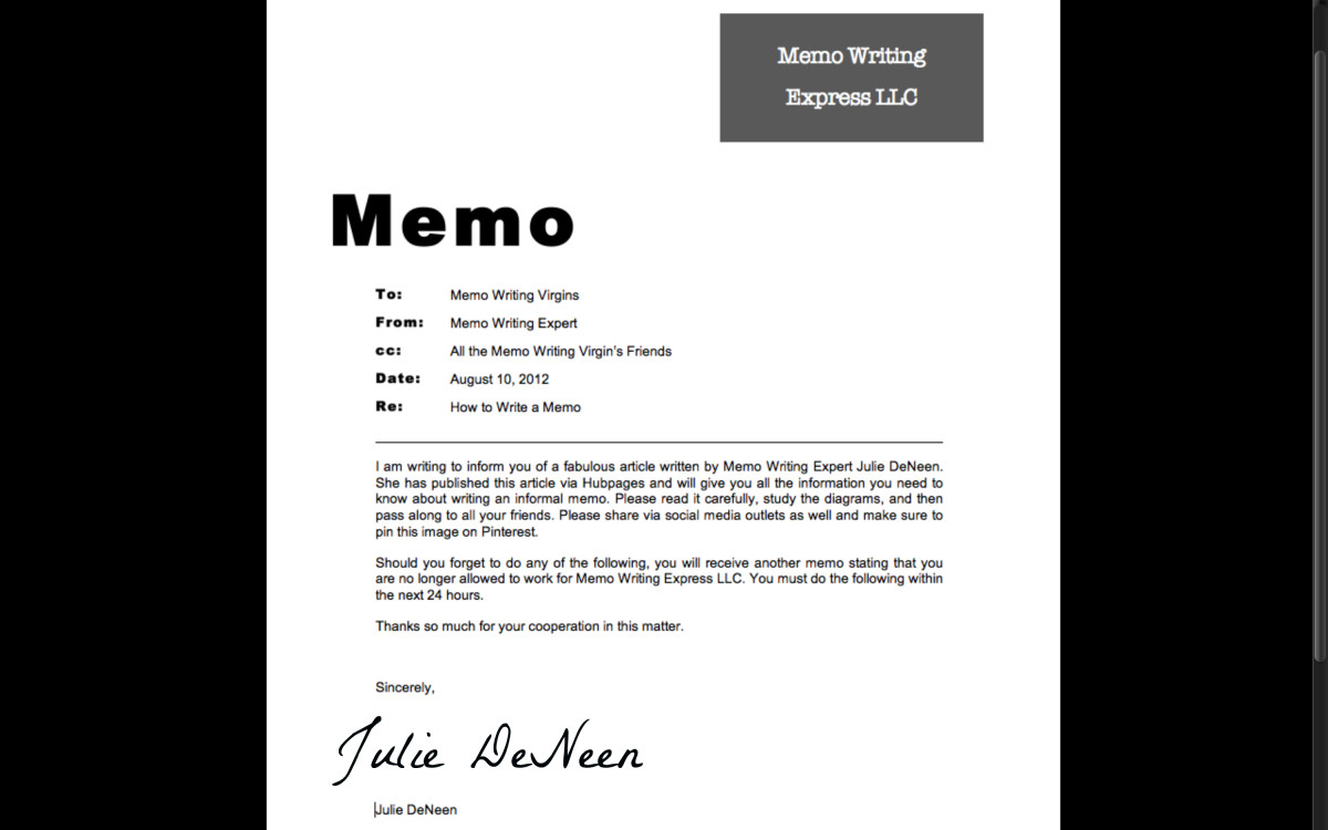 how to write a business memo