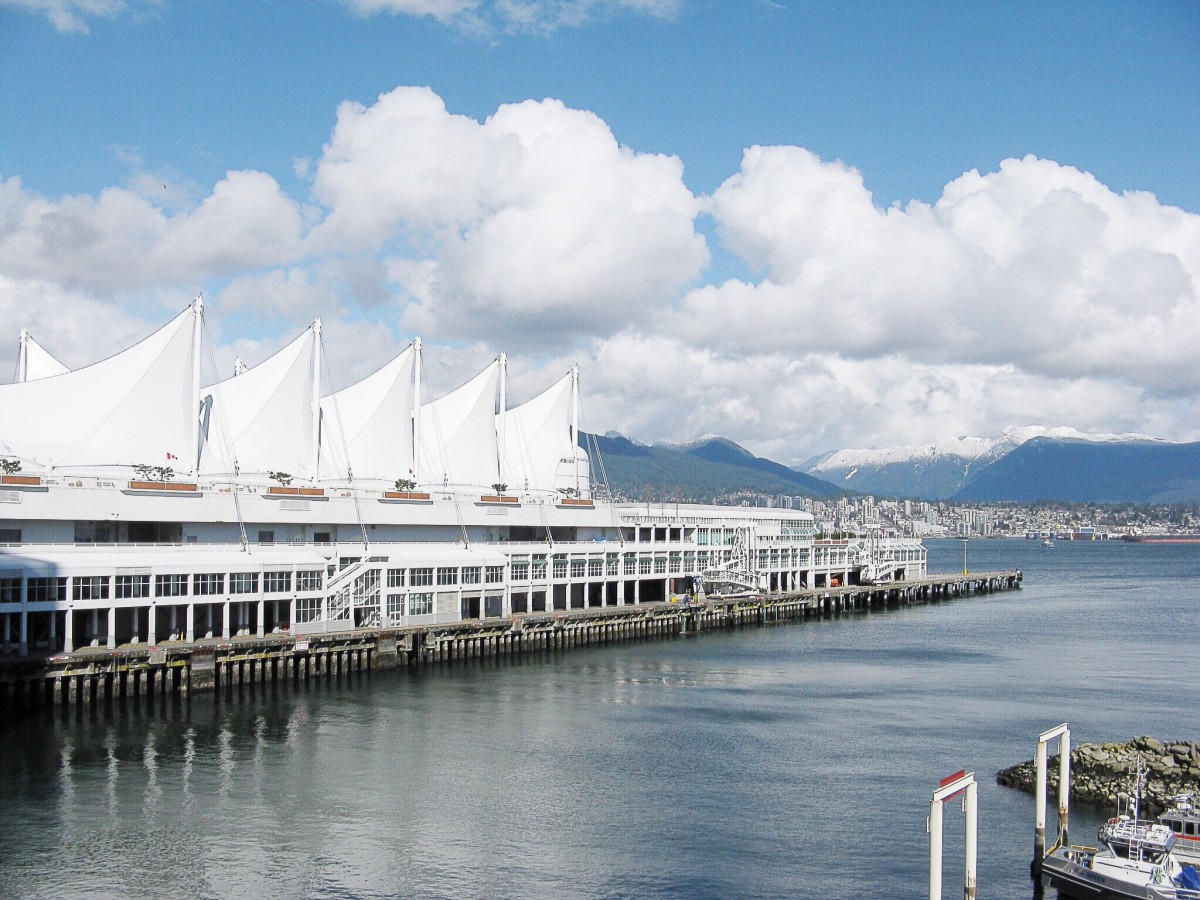 The five giant sails on the Canada Place pier are a notable attraction in Vancouver.