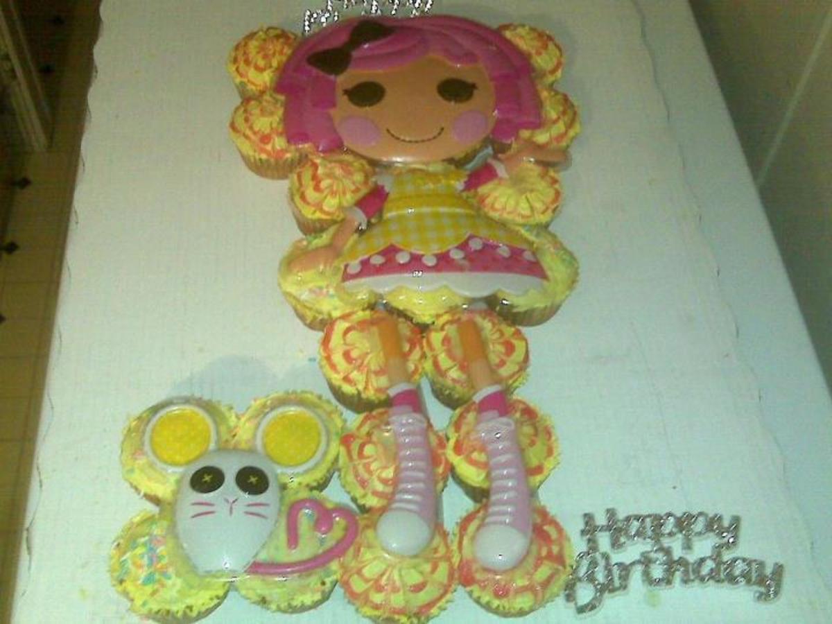 My daughter's Lalaloopsy cupcake cake