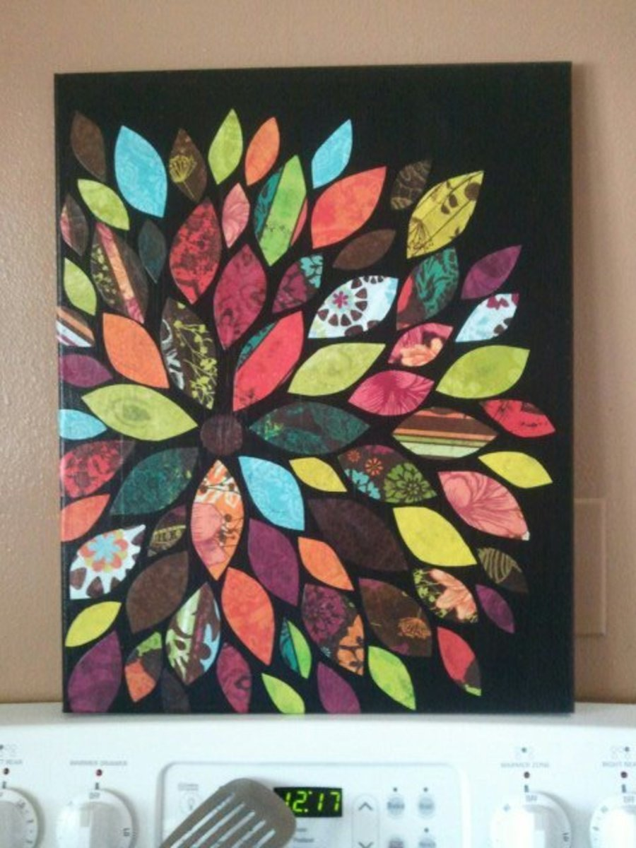 Canvas and scrapbook paper wall art