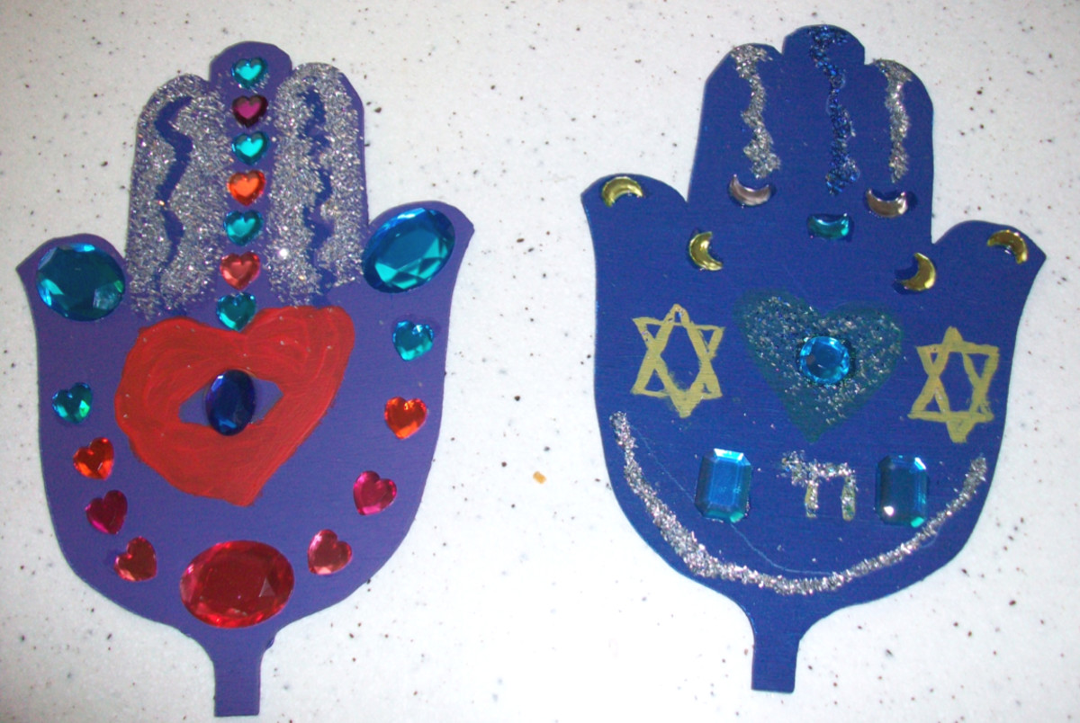 Hamsa wood craft project for kids