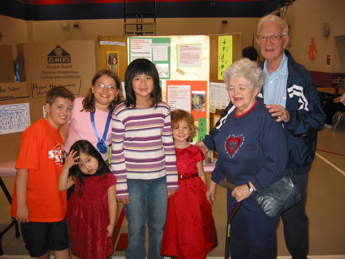 Grandparents at school event.  Dementia prevented my in-laws from participating in most school events, so these few pictures we have are precious.