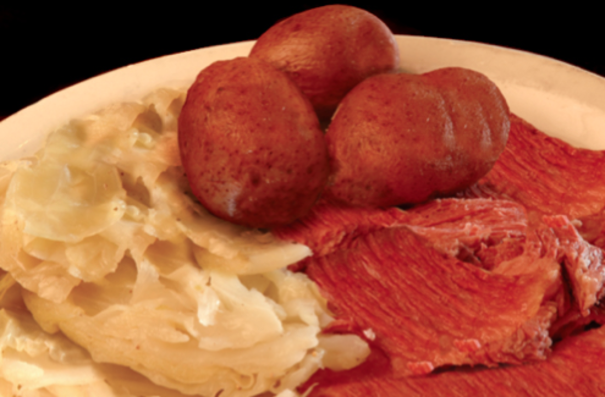 Corned beef is a delicious form of salt-preserved meat.  This is a photo of a typical Irish Dinner.  Making your own isn't difficult.