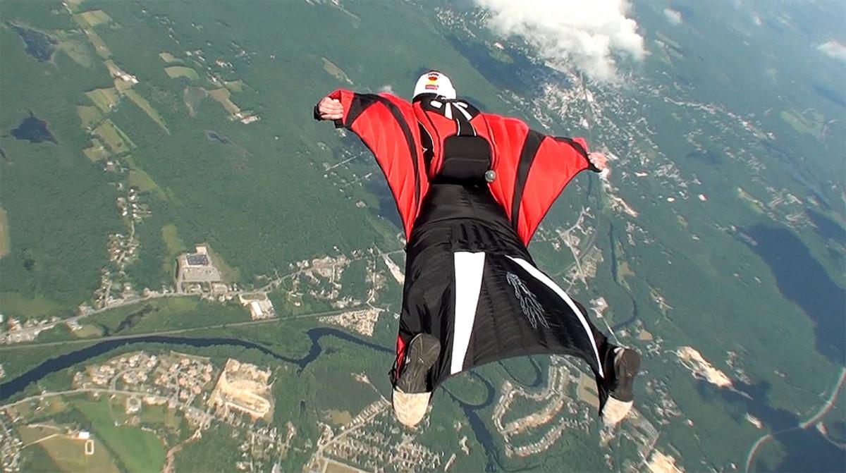 Wingsuit flyer over Massachusetts.