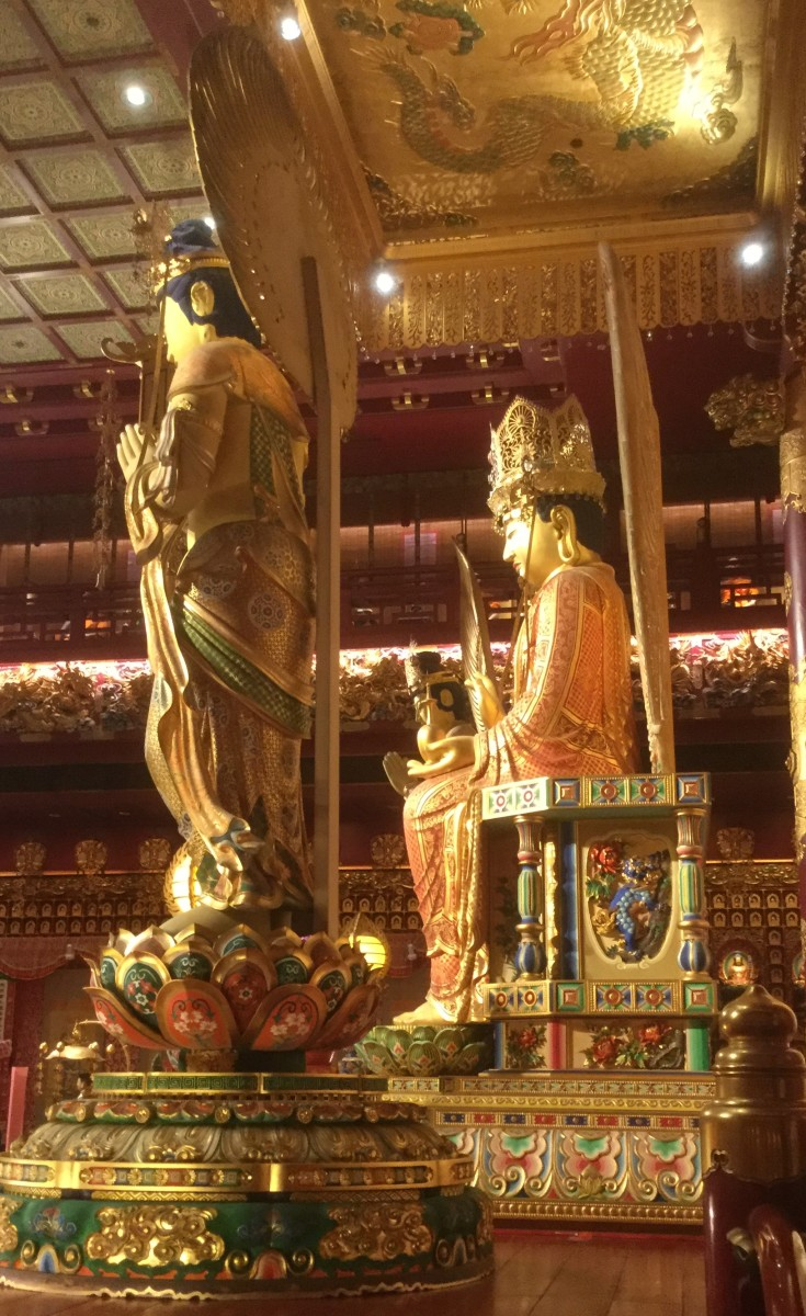 Gold Statues in the Buddhist Tooth Relic Temple—The First Hall in the Buddha Tooth Relic Temple