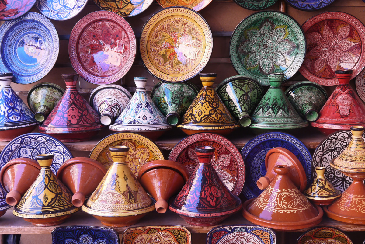 Traditional tagines in a pottery shop in Morocco