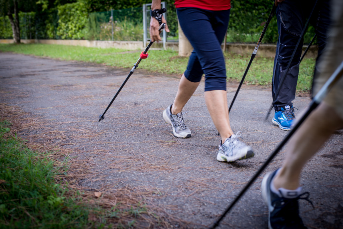 Walkers with nordic walking poles