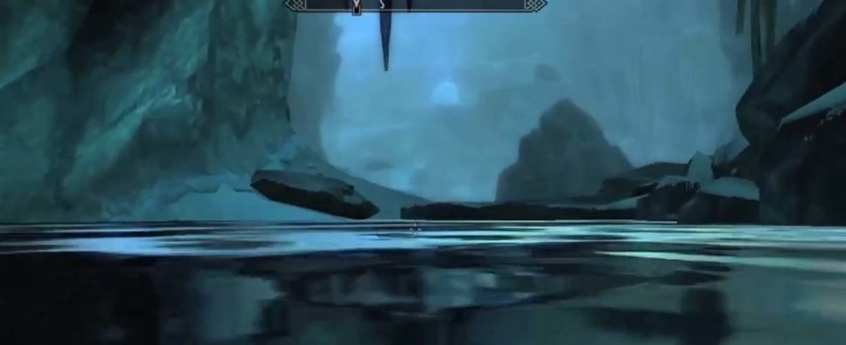 Skyrim swim through the stream and enter a whole world within Glacial Crevice.