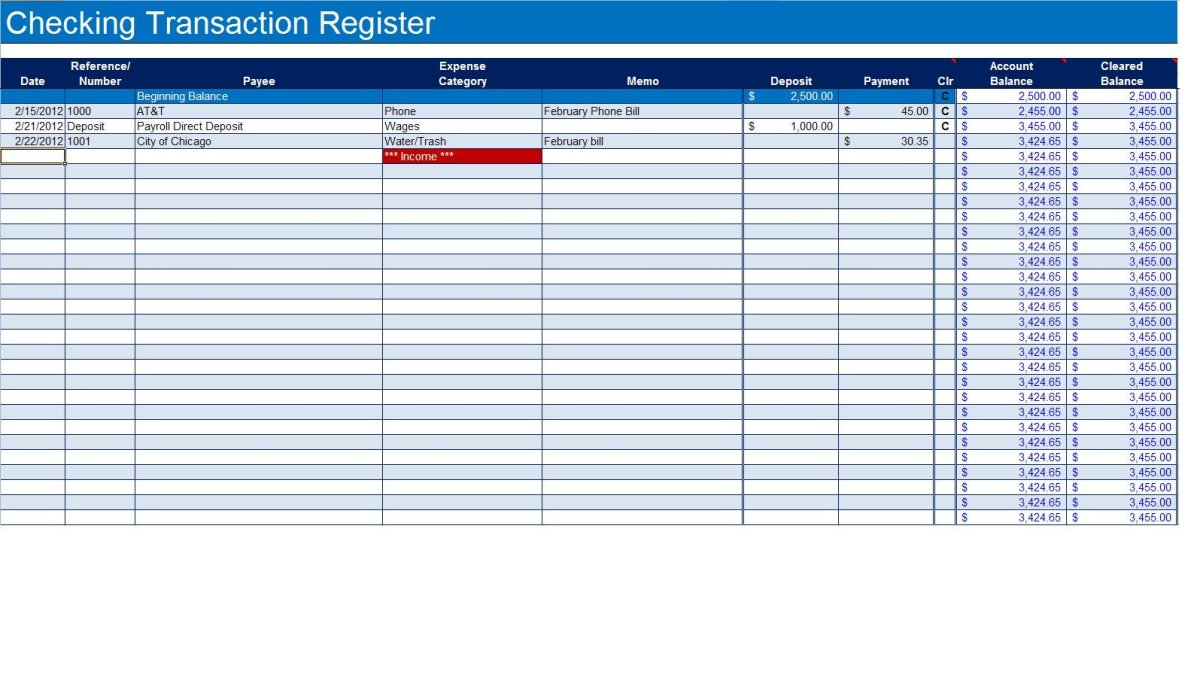 How to Create a Checkbook Register in Excel