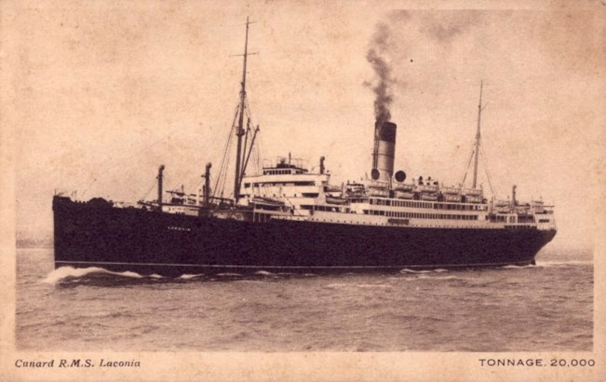 WWII: Cunard Line postcard of the RMS Laconia (1921-1942), circa 1921