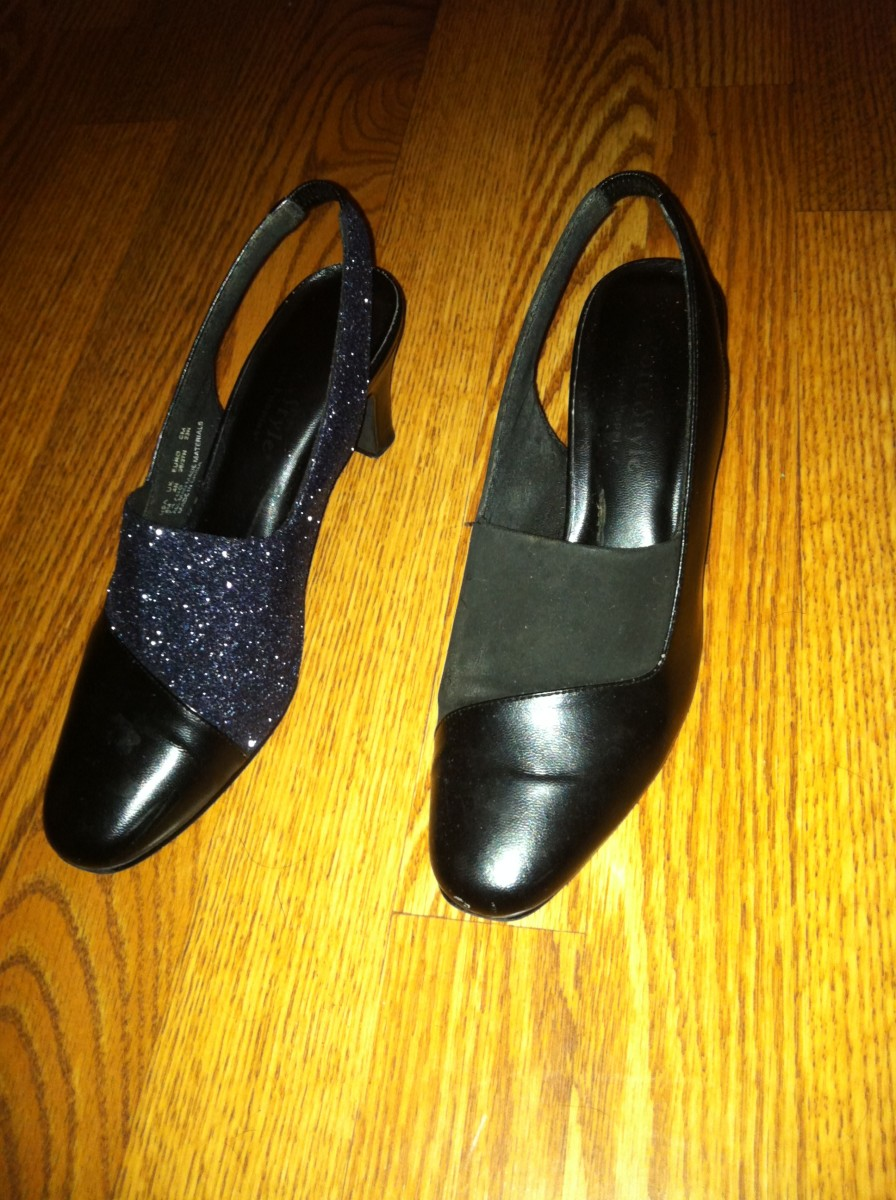 Before (right) and after (left) picture comparing the upcycled glittered shoe to the old, worn-out felted shoe.