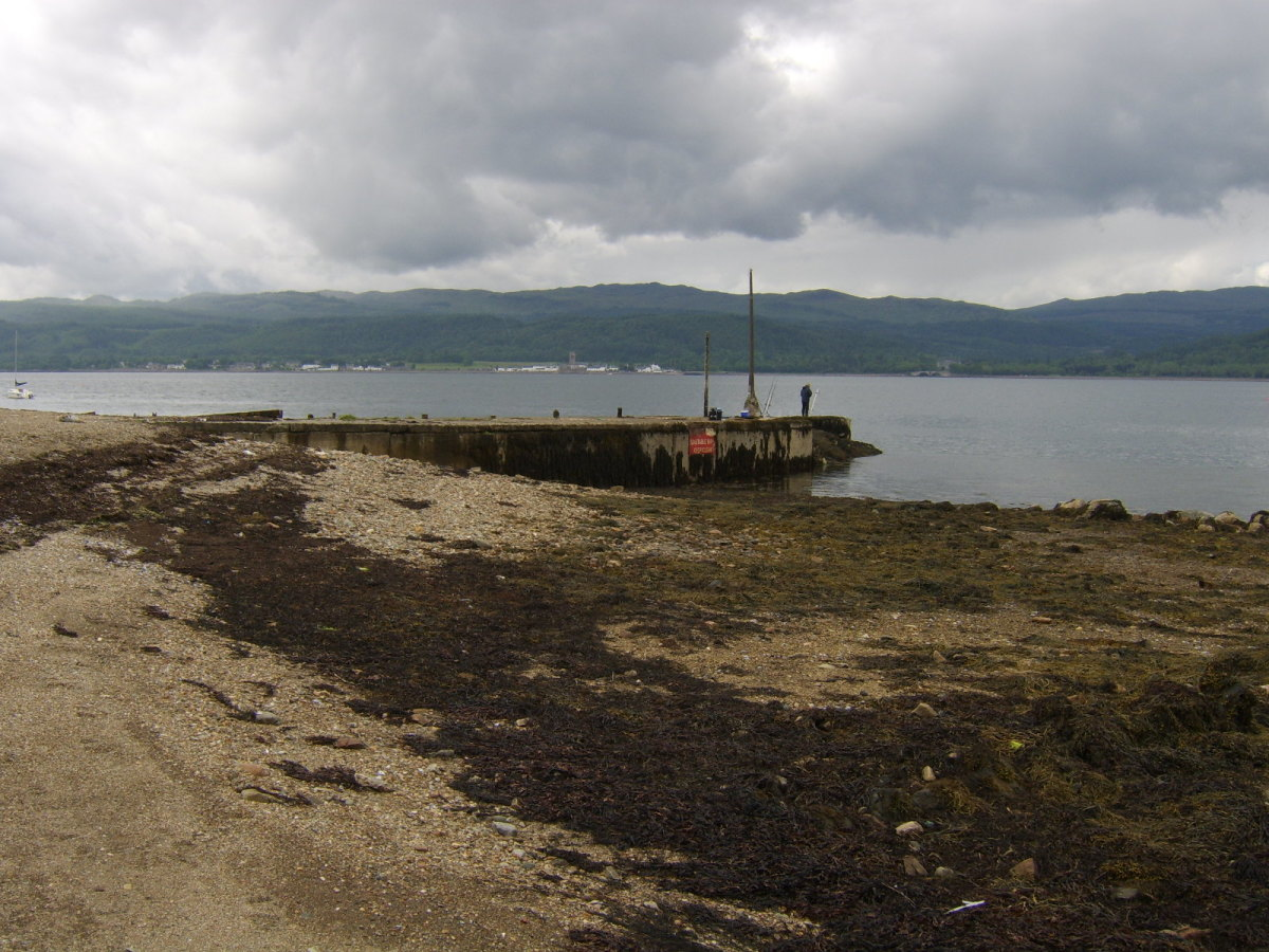 The jetty at St Catherines on Loch Fyne at close to low tide