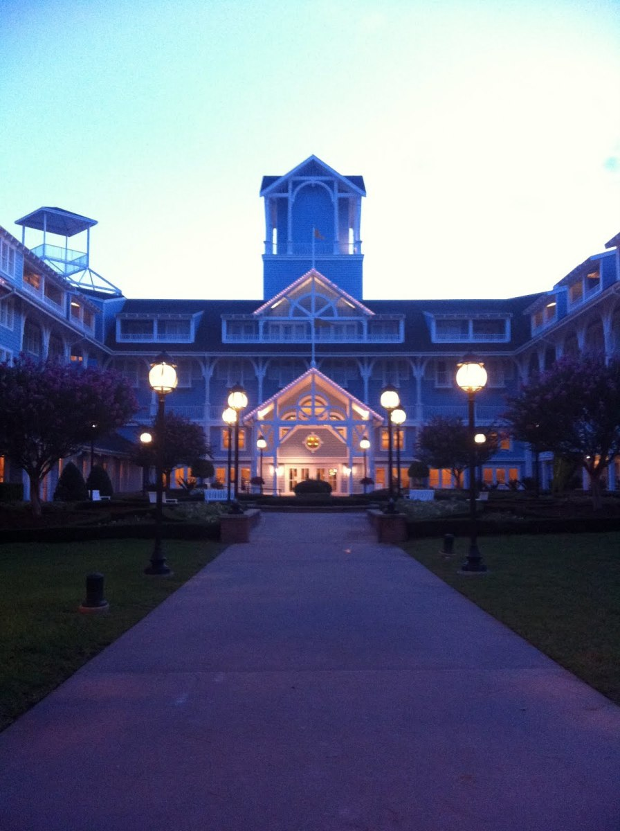 The courtyard at dusk.