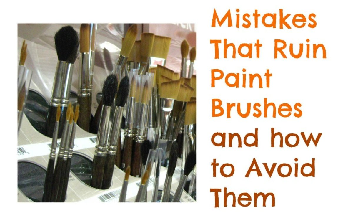 Some common mistakes can quickly ruin paint brushes. How you clean and store paint brushes has a huge impact on their life span and how they stay in shape. Great tips for beginner artists. Photo:Brush shelf in art supply store