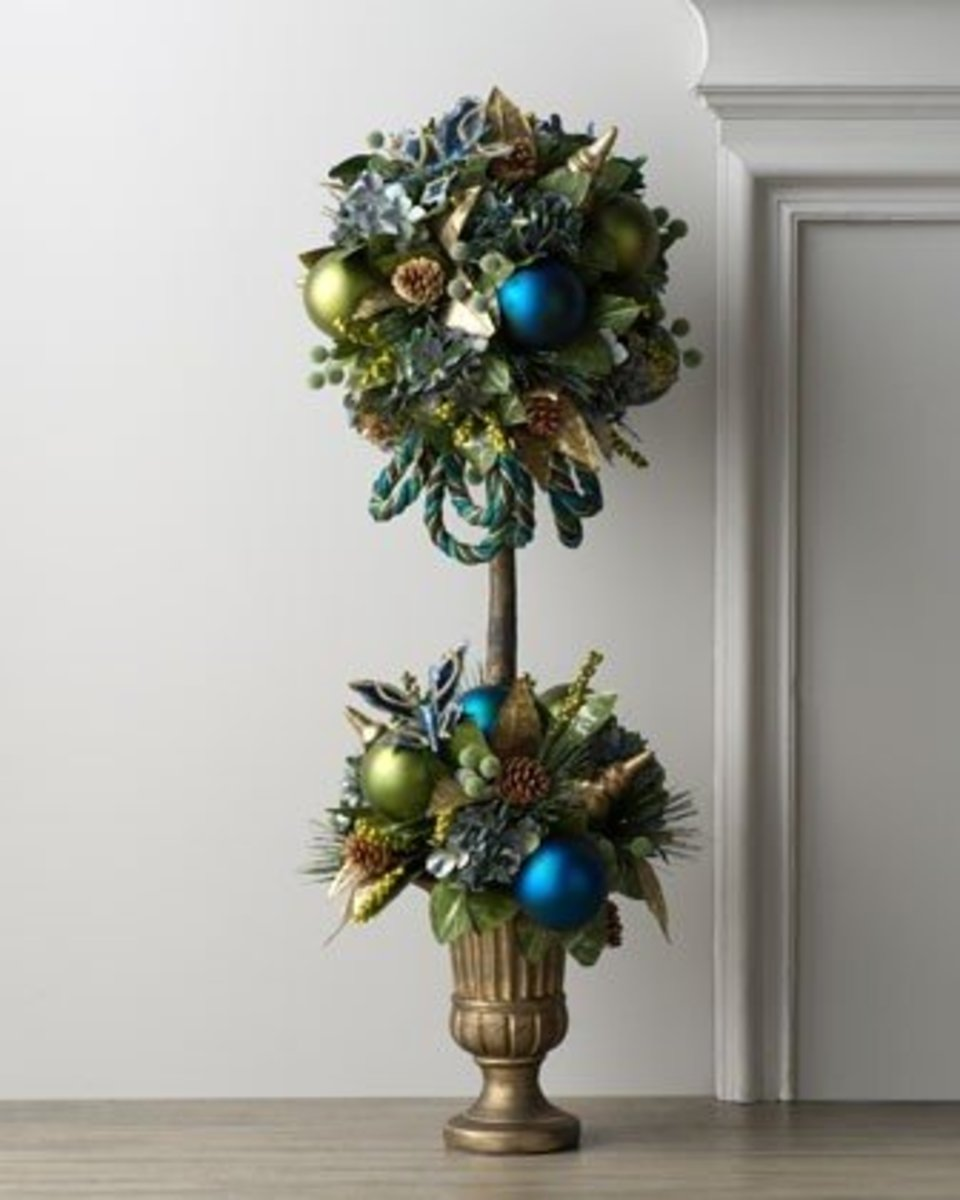 A peacock feather topiary adds a festive touch.