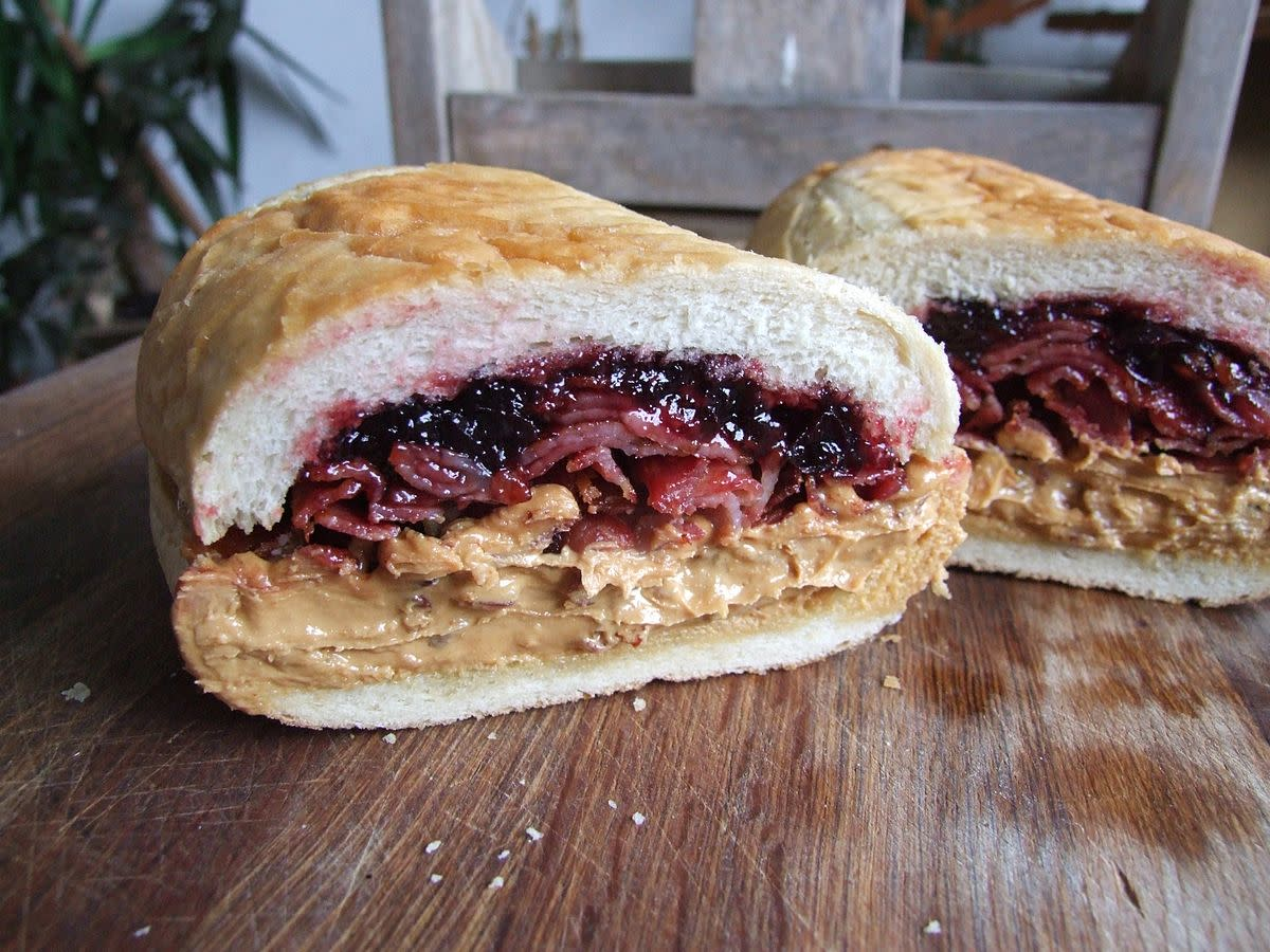 Extreme Sandwich filler known as the Fools Gold Loaf - peanut butter, grape jelly and bacon.