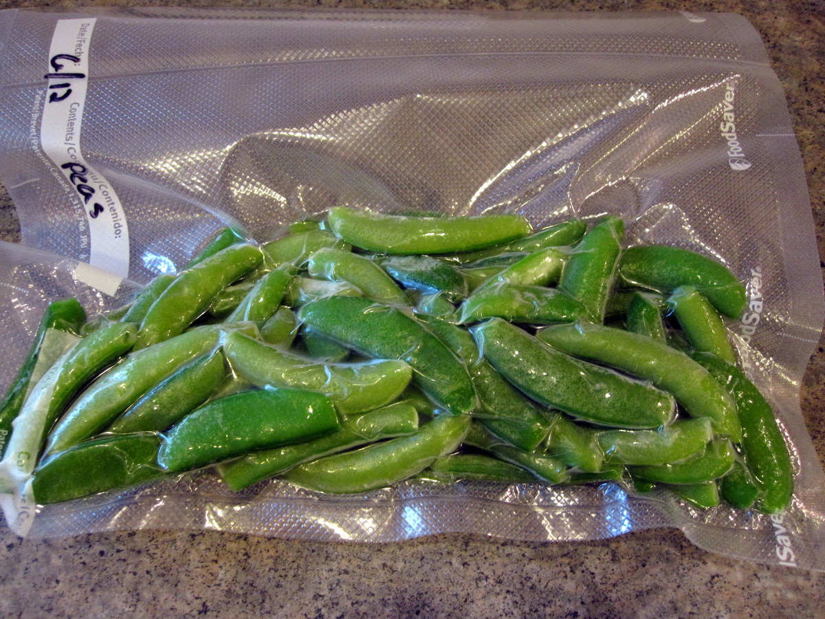 A bag of sugar snap peas ready for the freezer.