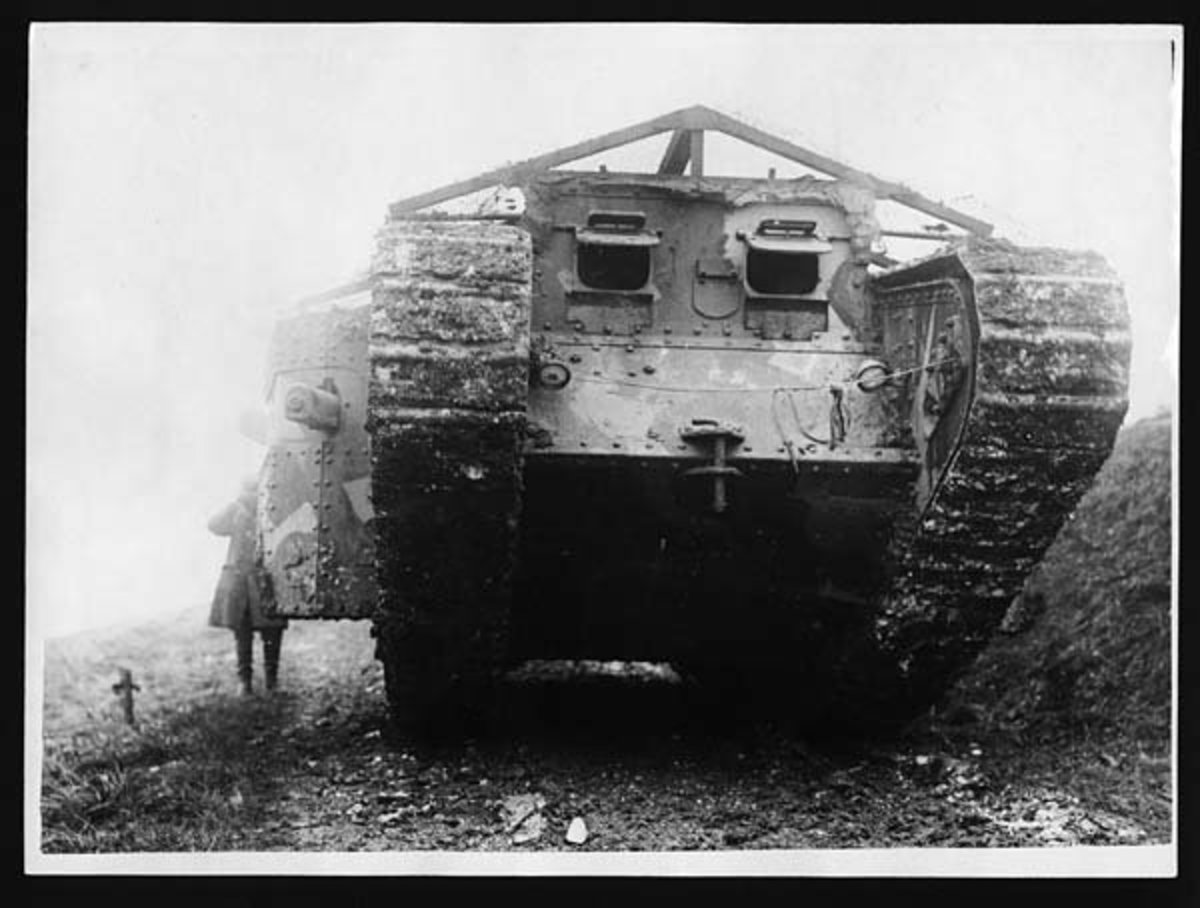 World War I: Front view of a tank. For many Germans, this would have been the last thing they saw (though the viewing ports would have been battened down).