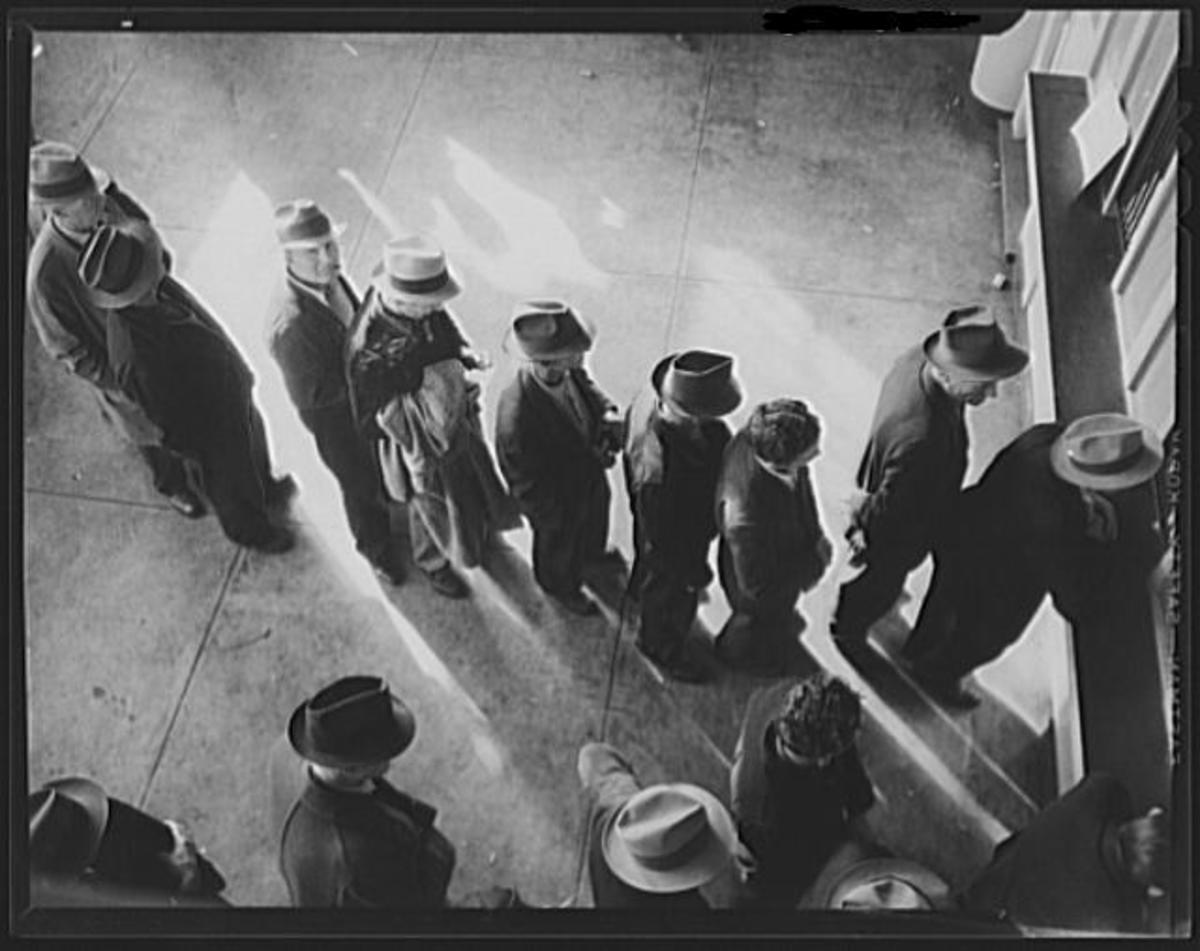 1938 Unemployment Line in the USA.