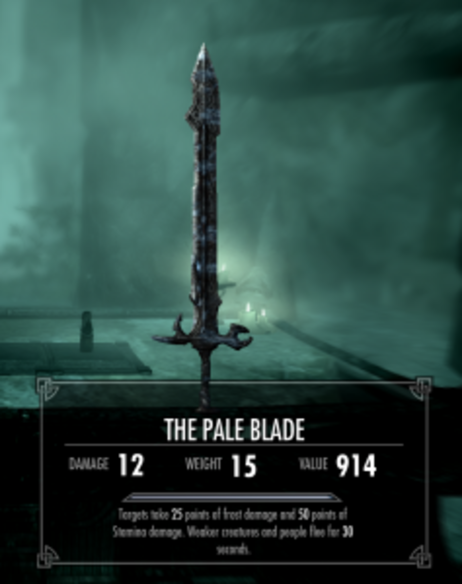 The Pale Blade. Weapon is leveled, so damage values will vary according to perks, abilities of character etc.