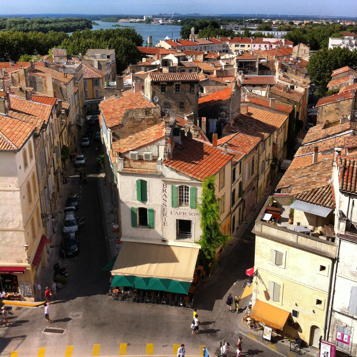 A view of Arles and  the Rhône River from the Amphitheater tower looking north.
