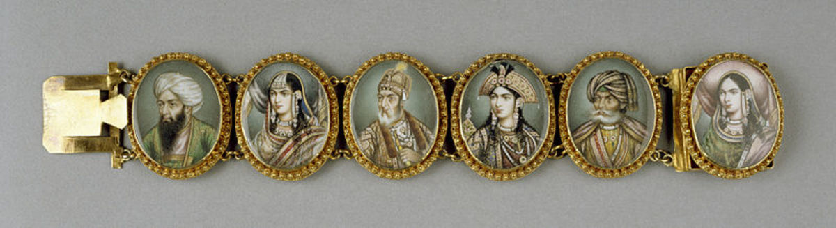 This Mughal bracelet consists of miniature portrait paintings of Mughal emperors and empresses