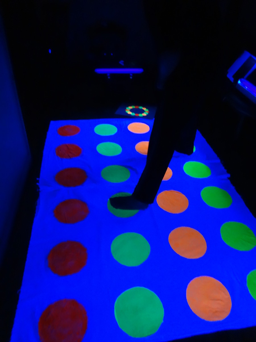 Twister game mat glowing