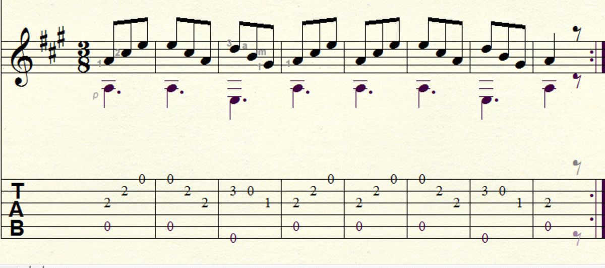 Easy Classical Guitar Lesson: Waltz in A by Carulli in Tab, Notation and Audio