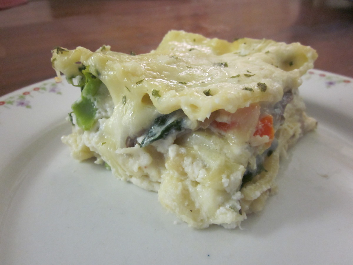 Chicken and vegetable lasagna with Alfredo sauce