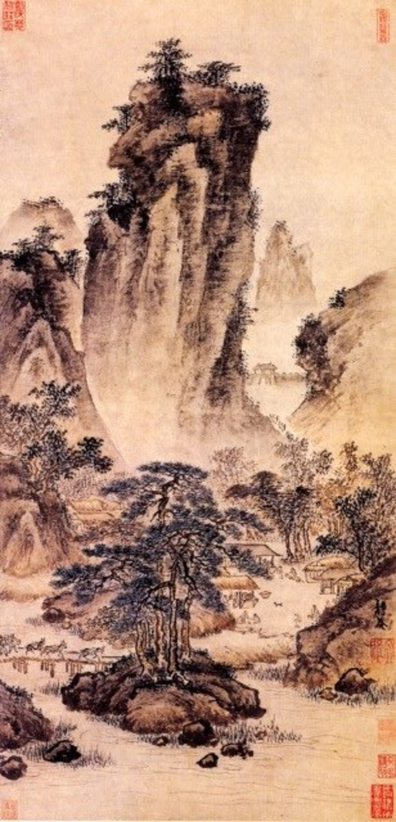 """Travelers Through Mountain Passes"" by Dai Jin (1388-1462)."
