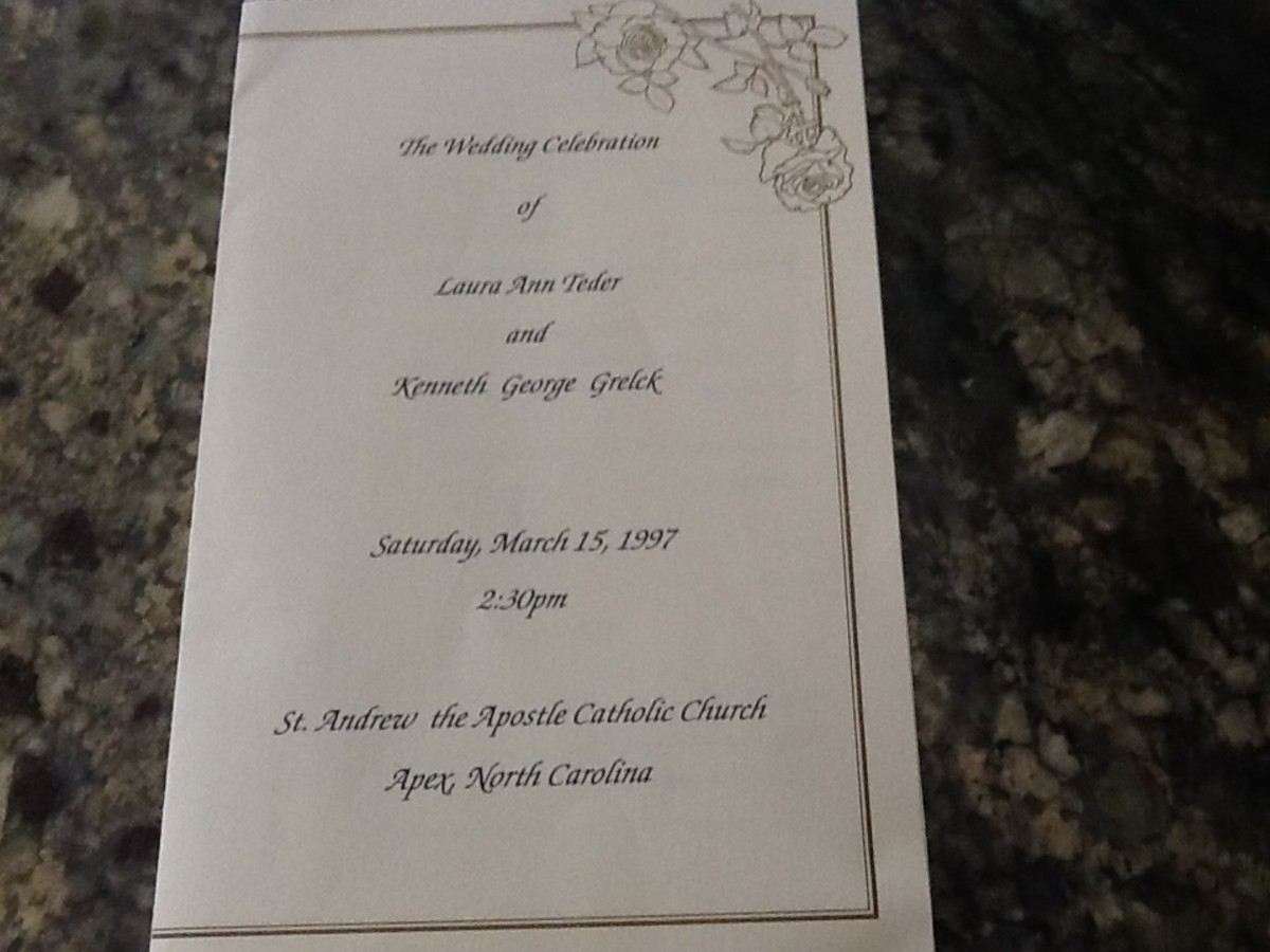 front cover of a Catholic wedding program