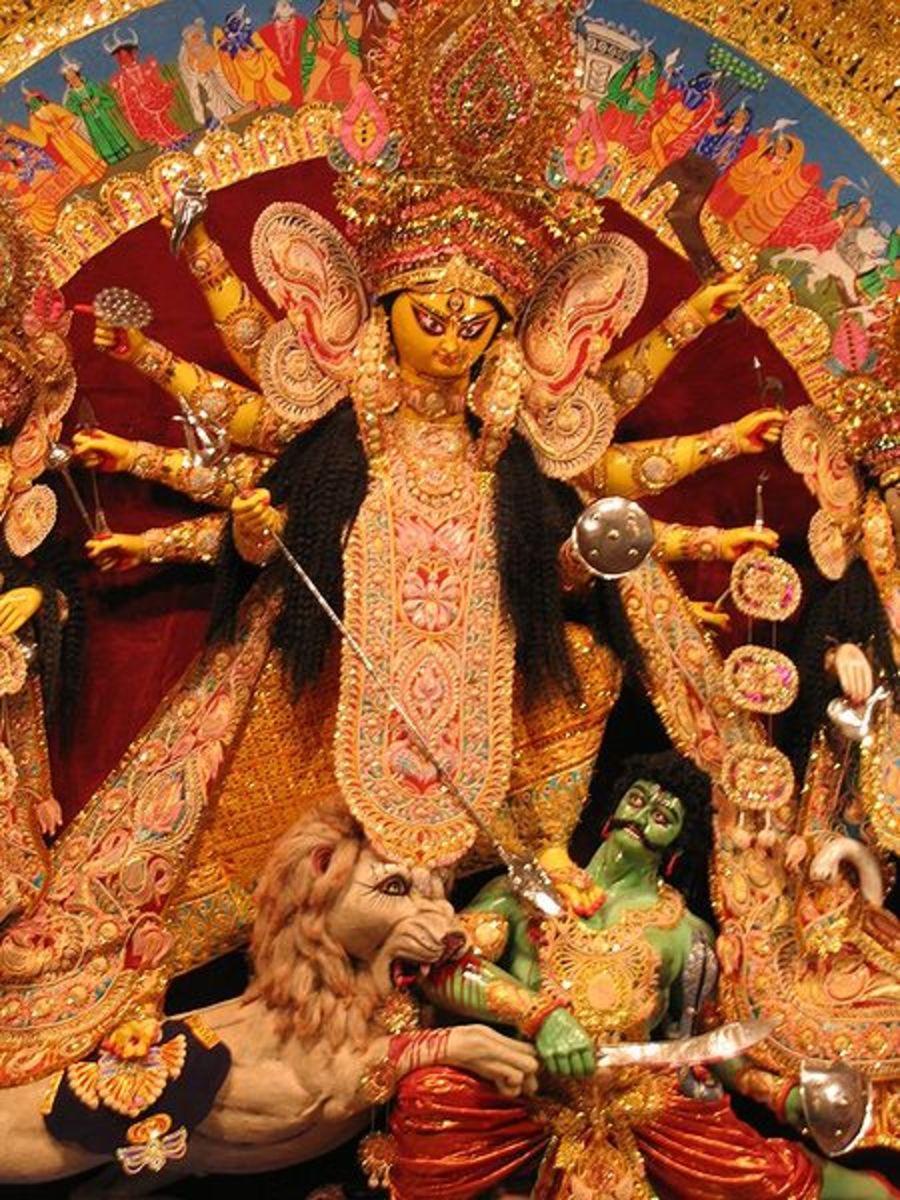 An artistic representation of the Goddess Durga killing the demon Mahishasur.