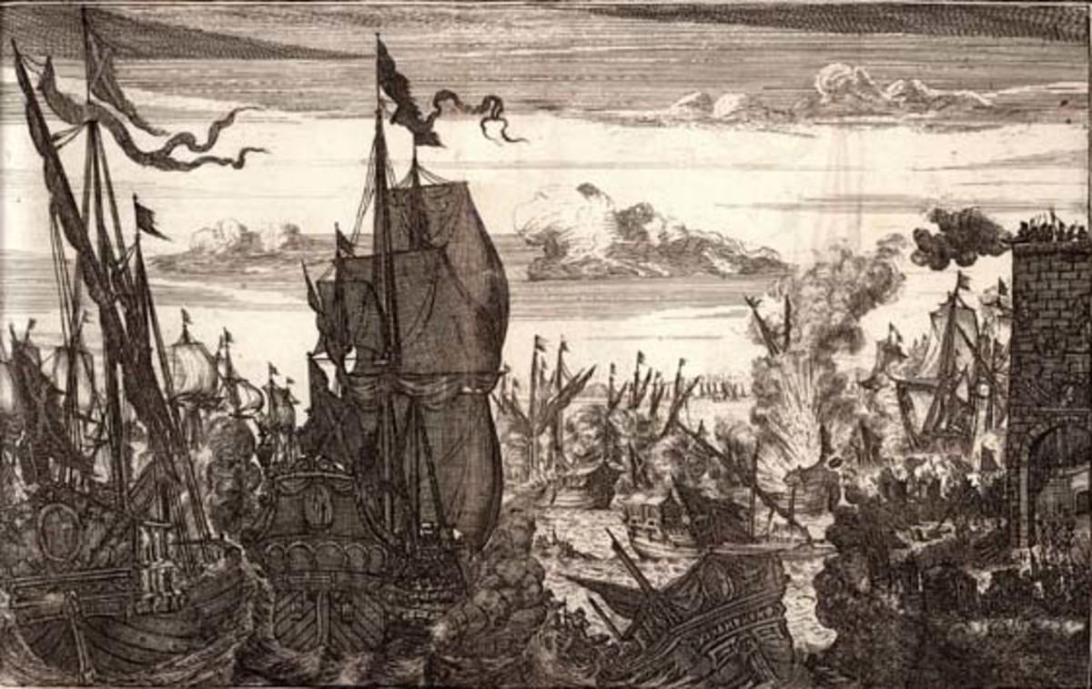 Henry Morgan destroys the Spanish fleet at Lake Maracaibo, Venezuela