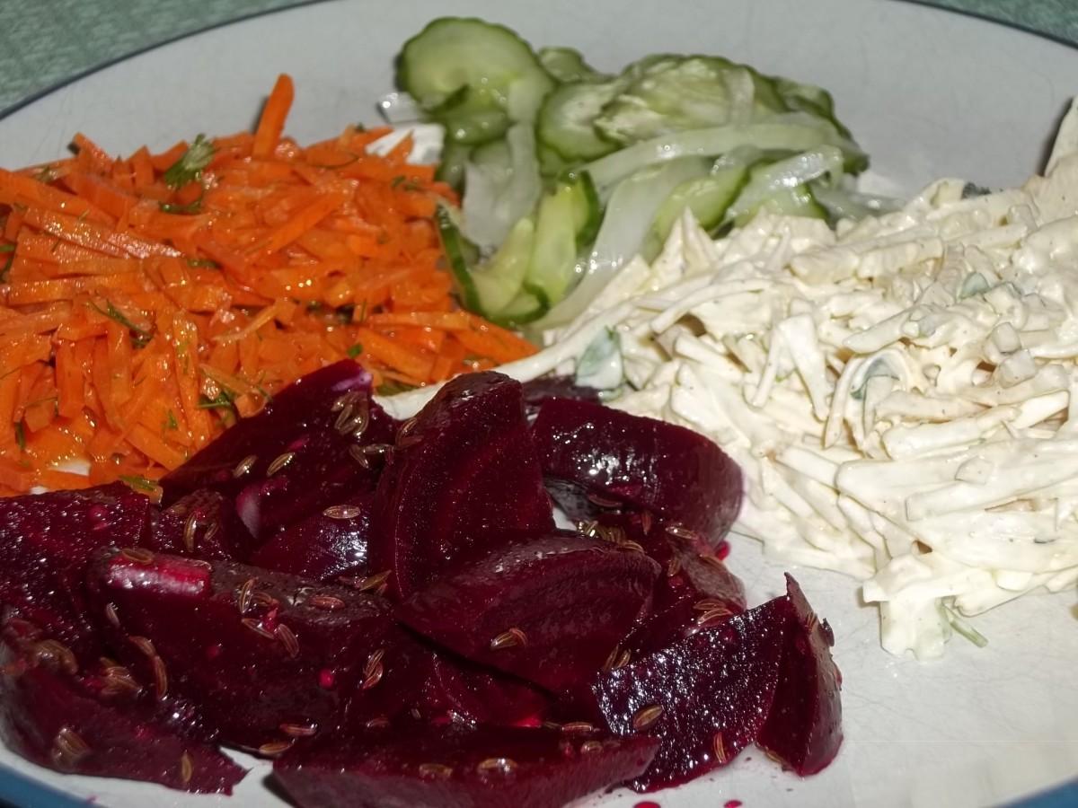 German salads: beet, carrot, cucumber, and celery root salad recipes.