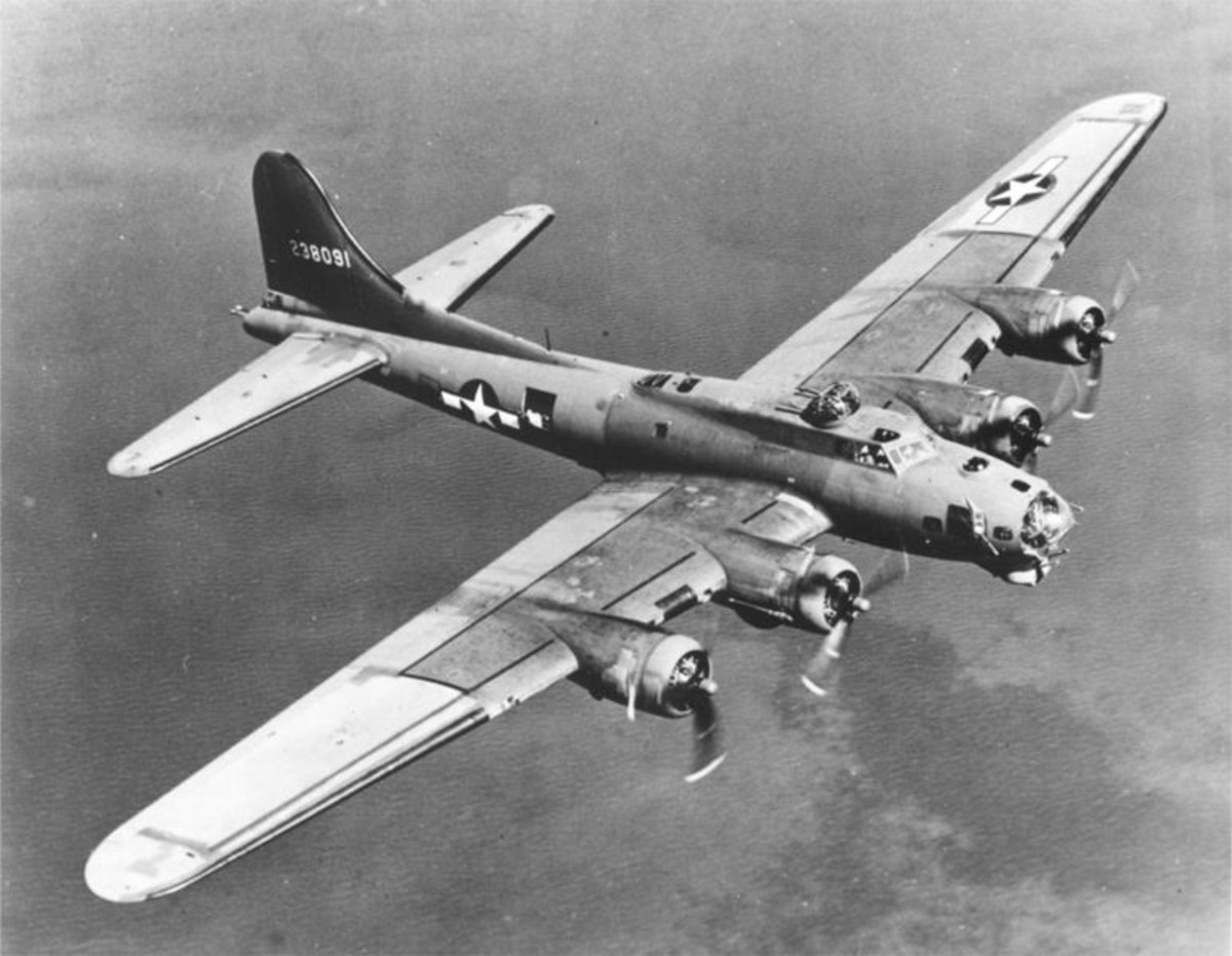 WW2: B-17 Flying Fortress. Weight 60,000 lbs, bomb load of 6,000 lbs, speed 300 mph.